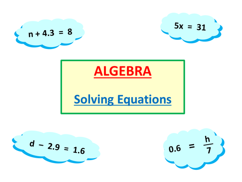 Solving Simple Equations 1