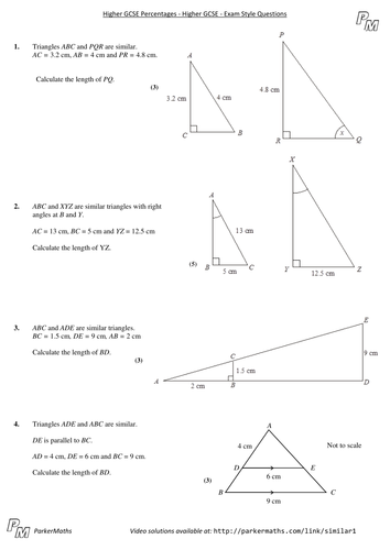 Similar Shapes Higher Gcse Exam Style Questions By