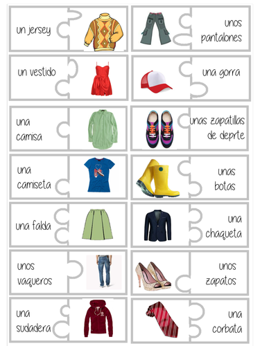 La ropa (dominoes) by superlibellule - Teaching Resources - TES