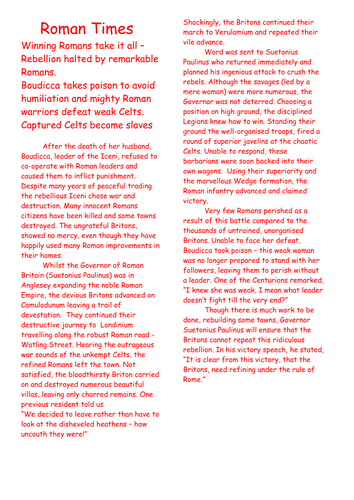 Boudicca Revolt Newspaper Writing Activity