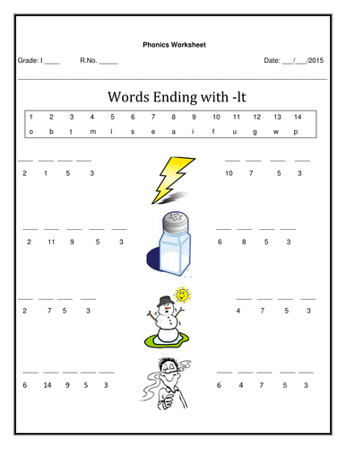 Worksheet for word ending with 'lt' by deepsv - Teaching Resources ...