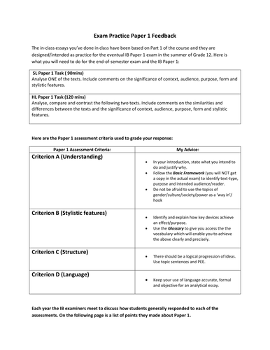 IB A1 English Language and Literature revision sheets for papers 1 and 2