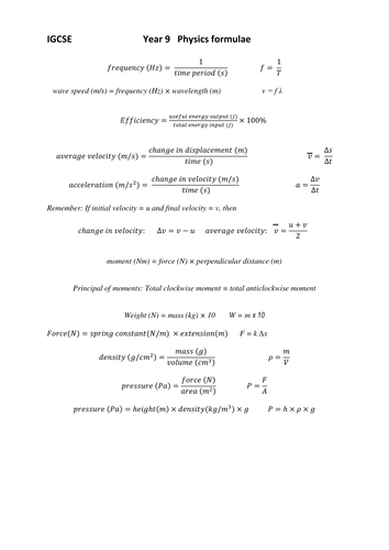 PHYSICS Edexcel IGCSE Student Notes and Formulae by