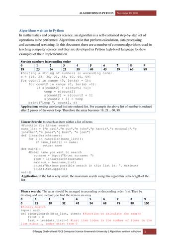 Algorithms for KS4 and KS5