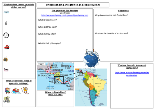 AQA Geography B Tourism Revision sheet