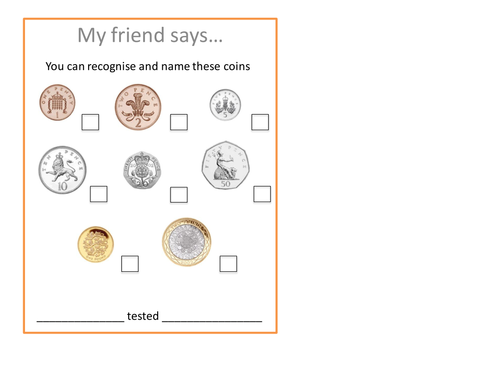 coin recognition peer assessment by nickisun Teaching Resources – Coin Recognition Worksheets