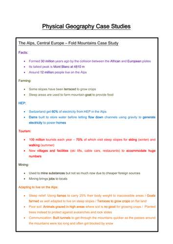 AQA GCSE Geography A Physical Case Studies