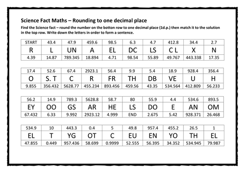 Science Fact Maths Rounding to one decimal place by potlid951 – Rounding to Decimal Places Worksheet
