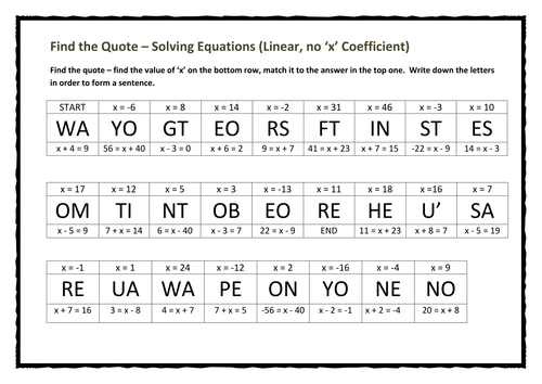 Find the Quote – Solving Equations (Linear, no 'x' Coefficient)