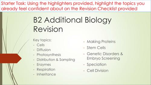 B2 Additional Biology learning mats