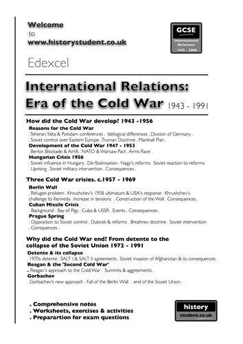 Pre 2016: Edxecel GCSE History A Unit 1: International Relations 1943 - 1991