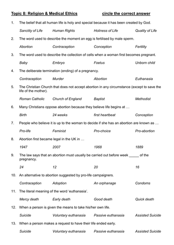 OCR B Medical Ethics Multiple Choice Questions