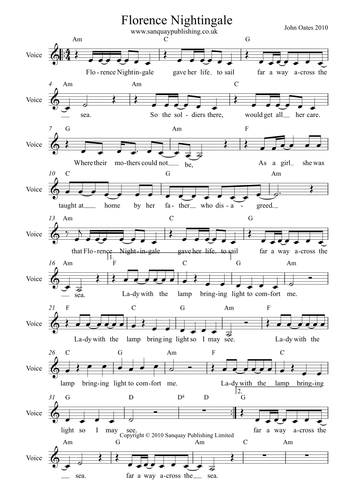 Florence Nightingale Song - John Oates - (MP3 & Score)