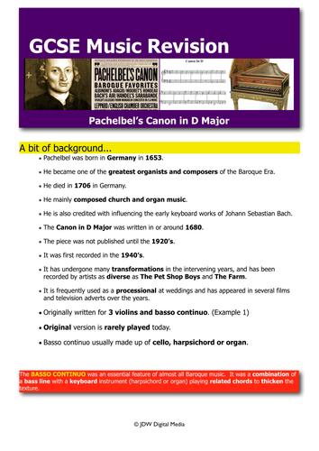Pachelbel's Canon _ Revision Booklet