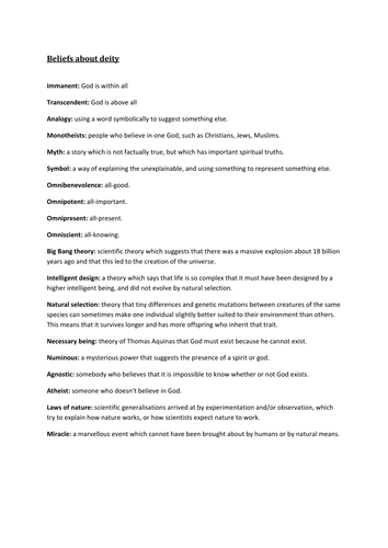 OCR GCSE Philosophy and Applied Ethics Keywords