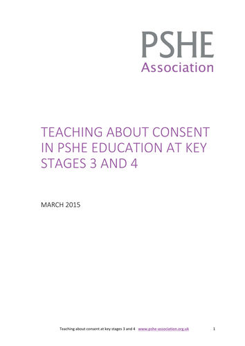 Guidance on teaching about consent in PSHE education
