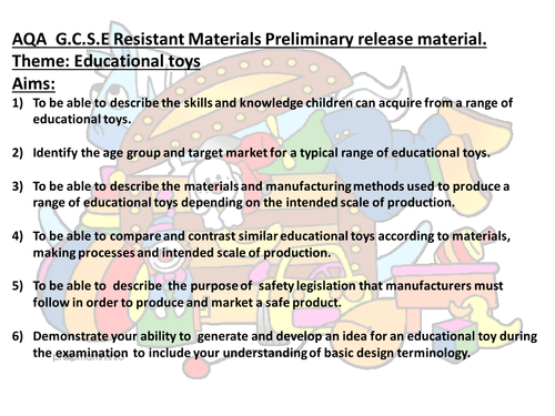 AQA Resistant Materials Unit One Preliminary research Material and task list