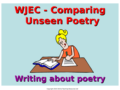 wjec gcse english literature exam prep comparing unseen poetry by teacher of primary. Black Bedroom Furniture Sets. Home Design Ideas