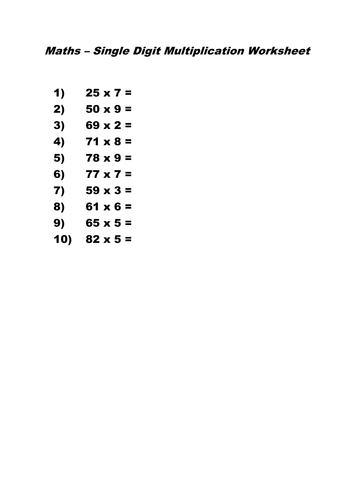 Single Digit Multiplication Worksheet