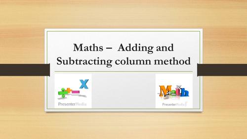 Adding and Subtracting column method