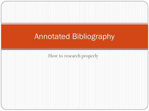 Annotated Bibliography Research Task