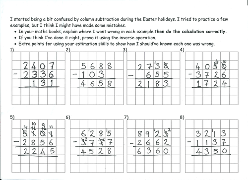 Deliberate column subtraction mistakes by marrog Teaching – Column Method Subtraction Worksheet