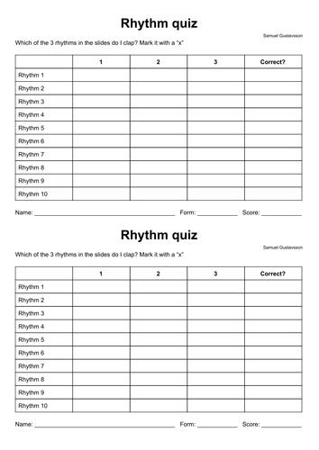 Rhythm quiz for KS 3 Music