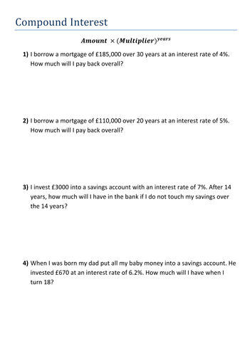 Compound Interest and Depreciation by kirbybill - Teaching Resources ...