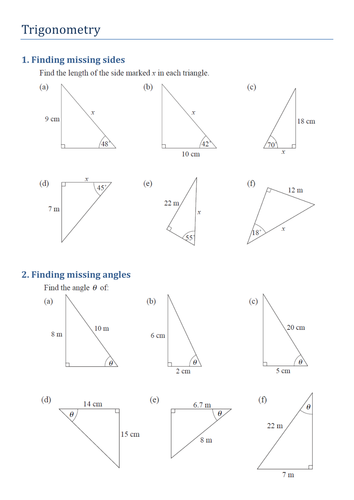 Trigonometry Finding Missing Sides And Angles By