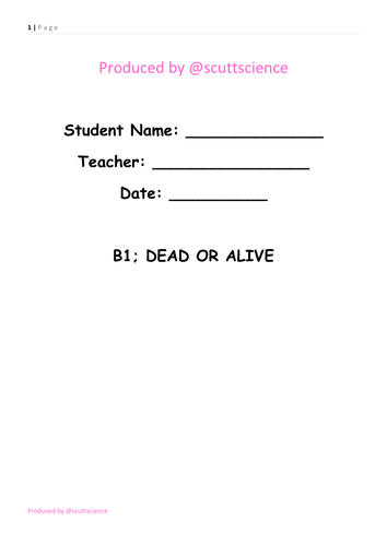 Dead or Alive - Student Booklet - Cells and living things