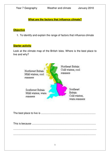 Worksheets Factors Affecting Climate Worksheet year 7 factors affecting climate sen by jlm1984 teaching resources tes
