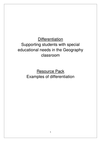 Differentiation - Ideas for supporting SEN pupils in the Geography classroom