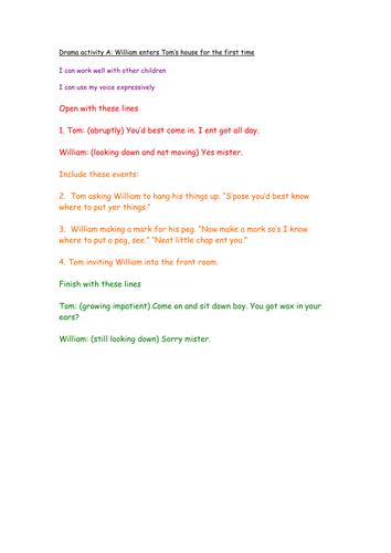 Goodnight Mr. Tom, three drama activities leading into diary writing