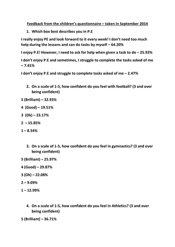 Easy to use pupil questionnaire for P.E audit