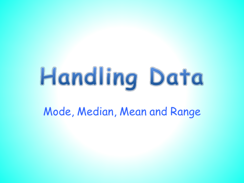 Mode, Median, Mean and Range PowerPoint