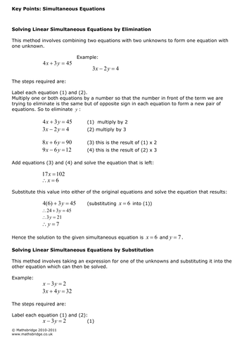 AS Maths Simultaneous Equations worksheet and revision notes