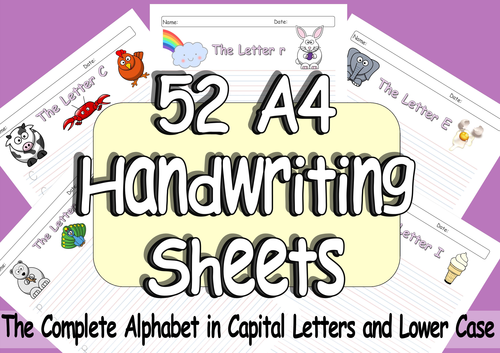 52 pages of eyfs or ks1 handwriting practice a4 sheets of the complete alphabet from a z by. Black Bedroom Furniture Sets. Home Design Ideas