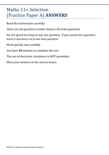 11+ Maths Practice Paper