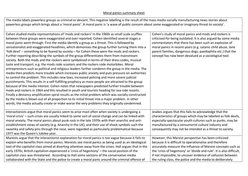 Crime and deviance summary sheets