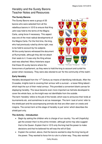Magna Carta - The Surety Barons and their Heraldry