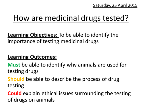 How are medicinal drugs tested?