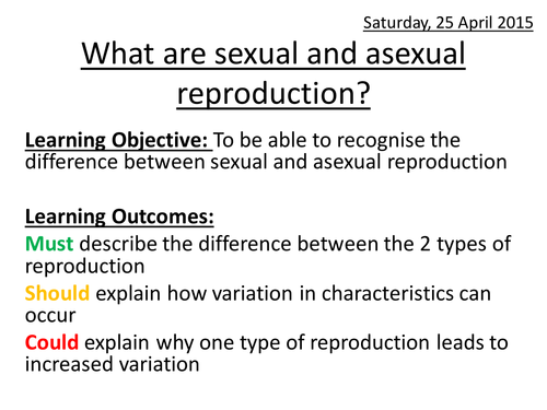 What are sexual and asexual reproduction by amberprice Teaching – Sexual and Asexual Reproduction Worksheet