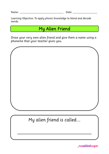 Phonics Screening Practice - Pseudo (fake/nonsense) words - Alien Resource Pack