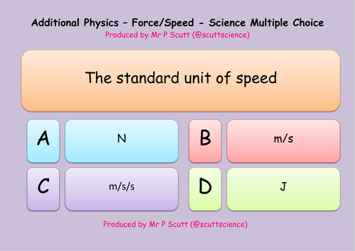 Speed and forces multiple choice quiz
