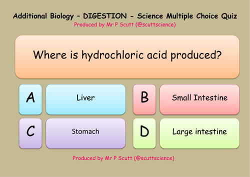 Digestion multiple choice quiz