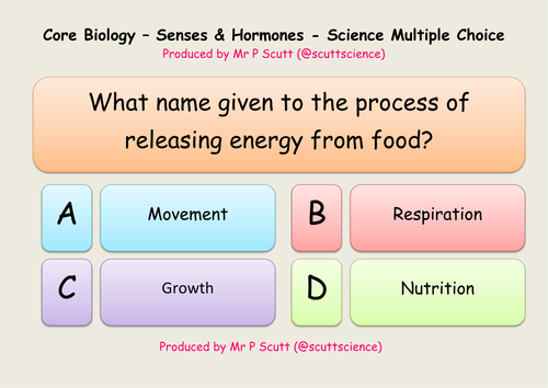 Senses and hormones multiple choice quiz