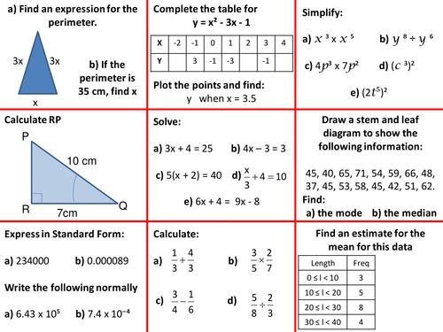 Revision Starter Tables GCSE Maths Higher Grade C & B Key Topics