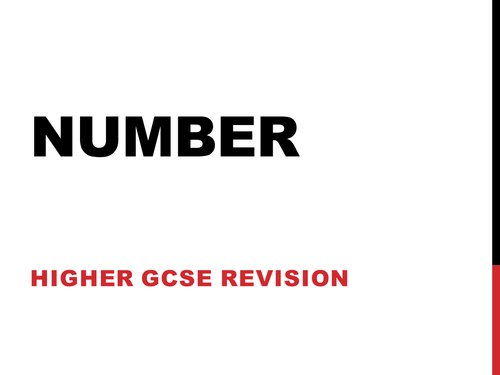 GCSE Higher Revision - Number