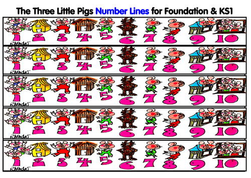 The Three Little Pigs Number Lines
