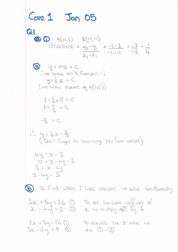 AQA A Level Maths Core 1 - Worked Solutions to Past Exam Papers